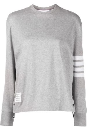 Thom Browne LONG SLEEVE OVERSIZED TEE IN MED WEIGHT JERSEY W/ ENGINEERED 4 BAR