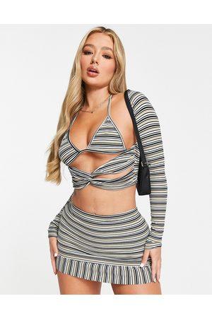 Fashionkilla Senhora Saias - 90's 3 piece skirt co ord in stripe-Multi