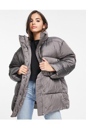 ASOS Senhora Casacos - Luxe oversized puffer jacket in charcoal-Grey