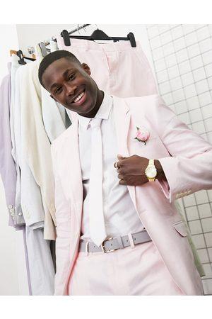 ASOS Homem Casacos - Skinny wedding suit jacket in pastel pink cotton linen