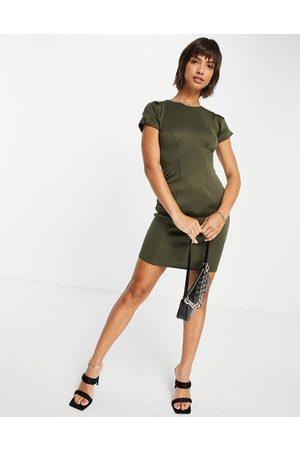 closet london Senhora Vestidos Lápis - Contour seam pencil dress in olive green