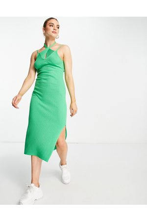 ASOS Senhora Vestidos Casual - Knitted midi dress with cut out detail in green