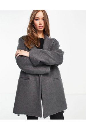 ASOS DESIGN Oversized brushed grandad coat in grey