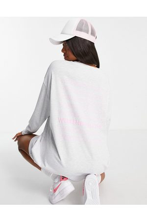 ASOS Oversized t-shirt dress with long sleeve and stacked logo in ice marl-Grey