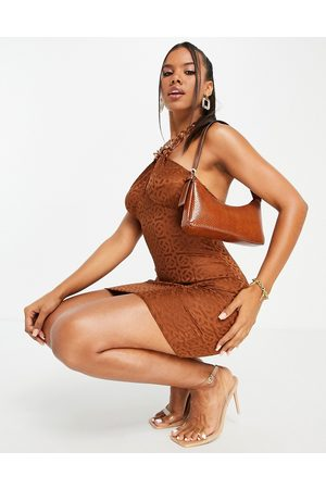 ASOS DESIGN Halter chain mini dress in chocolate jacquard-Brown