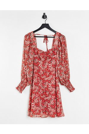 New Look Vintage floral mini dress with tie detail red pattern