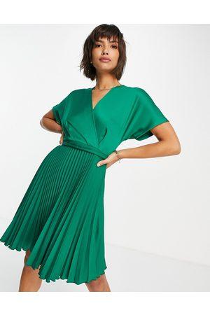 closet london Senhora Vestidos de Festa - Pleated wrap dress in emerald green