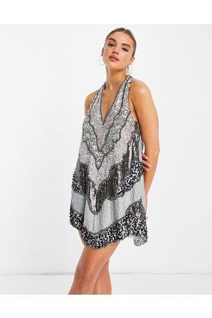 ASOS Patchwork embellished halter mini dress with open back-Grey