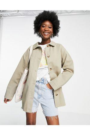 ASOS Cotton shacket in light khaki-Neutral
