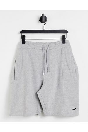 Threadbare Central pleat jersey shorts in light grey