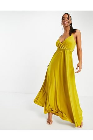 ASOS DESIGN Senhora Vestidos de Festa - Cami plunge tie back maxi dress in mustard-Orange