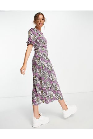 Nobody's Child Felicia floral bloom print midi dress in purple