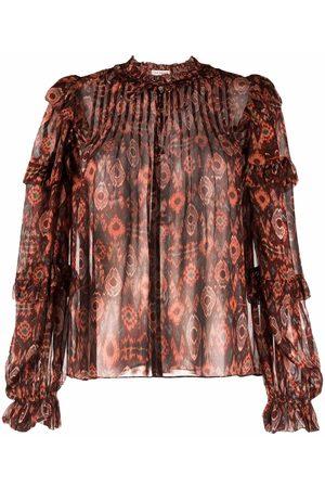 Ulla Johnson Senhora Blusas - Geometric-print sheer blouse