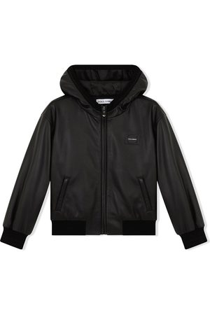 Dolce & Gabbana Logo-patch hooded leather coat