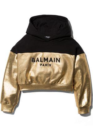 Balmain Kids Metallic logo print hoodie