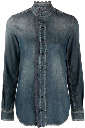 Saint Laurent Senhora Ganga - Embroidered-edge denim shirt