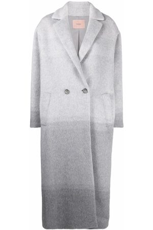 Twin-Set Gradient-effect notched-lapels double-breasted coat