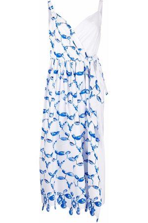 Rosie Assoulin Abstract-print asymmetric-wrap dress