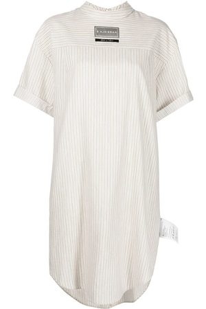 MM6 Maison Margiela Striped logo-patch shirt dress