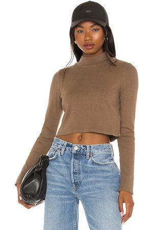 Lanston Cropped Turtleneck in - Brown. Size L (also in XS, S, M).