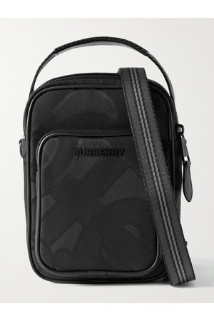 Burberry Leather-Trimmed Recycled Logo-Jacquard Messenger Bag