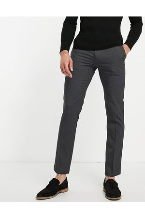 River Island Homem Calças Justas - Slim smart trousers in dark grey-Navy