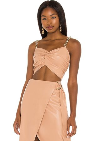 AMUR Twist Front Faux Leather Top in - Nude. Size 2 (also in 4, 6, 8).