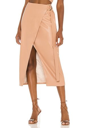 AMUR Faux Leather Wrap Skirt in - Nude. Size 0 (also in 2, 4, 6, 8).