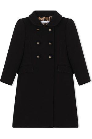 Dolce & Gabbana Kids Menina Casacos - Double-breasted virgin wool coat
