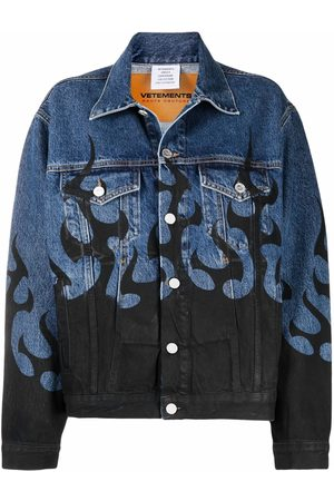 VETEMENTS Flame printed denim jacket