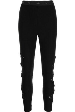 Yohji Yamamoto High-waisted lattice-strap leggings