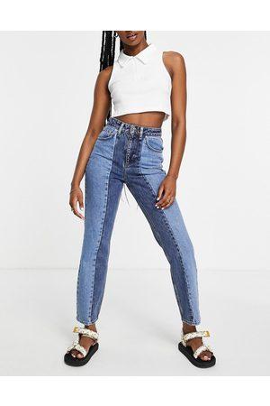 Miss Selfridge Senhora Cintura Subida - Mom patch high waist tapered jeans in mixed blue
