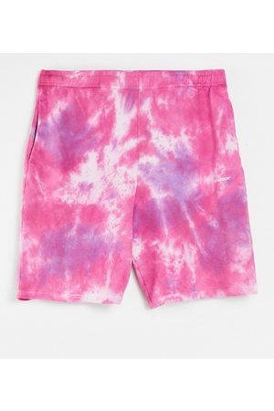 Collusion Calções - Unisex oversized pink tie-dye shorts co-ord