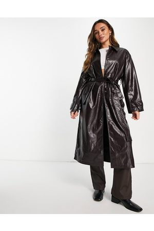 ASOS Crinkle faux leather trench coat in oxblood-Red