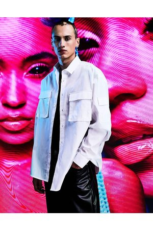 ASOS Homem Casual - Oversized utility shirt with pockets in white
