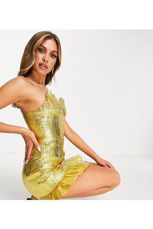 Collective The Label Senhora Vestidos de Festa - Exclusive cupped metallic mini dress in gold