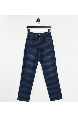 Collusion Retos - Unisex 90s straight leg jeans with laser pin stripe-Blue