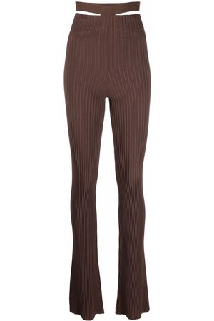 ADAMO Ribbed-knit slim-fit trousers