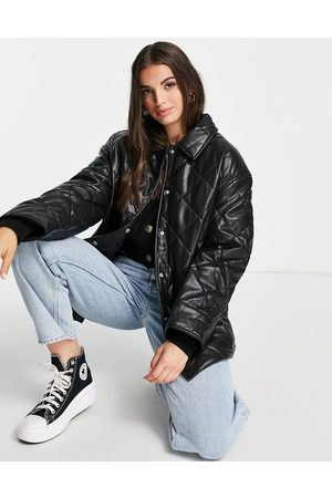 ASOS DESIGN Faux leather quilted padded jacket in black