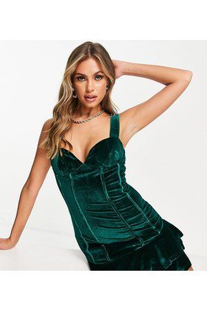 Collective The Label Exclusive velvet corset mini dress in emerald green