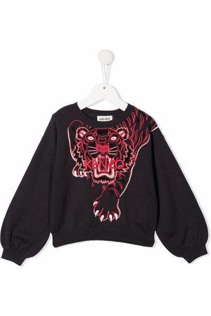 Kenzo Kids Menina Camisolas com capuz - Tiger-motif cotton sweatshirt