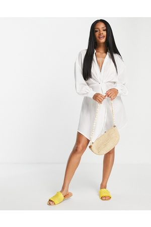 ASOS Senhora Vestidos de Praia - Jacquard twist beach mini dress in white