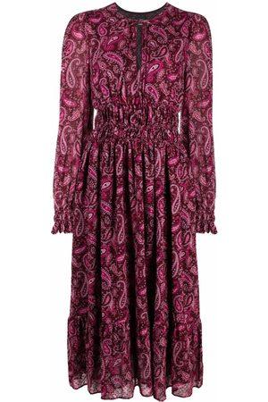 Pinko Paisley-print shirred midi dress