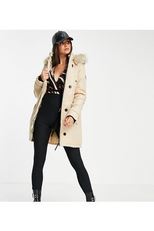 Vero Moda Tall Parka with faux fur lined hood in beige-Neutral