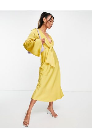 ASOS Tie front satin midi dress with flared sleeve and cut out side in yellow