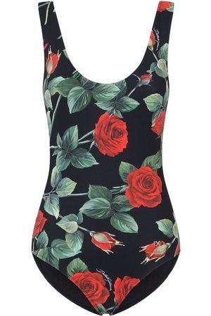Dolce & Gabbana Rose-print scoop-neck one-piece