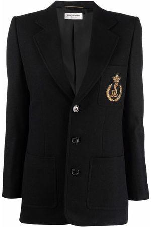 Saint Laurent Senhora Blazers - Logo-embroidered single-breasted blazer