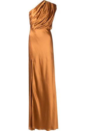 Michelle Mason Silk asymmetrical gathered gown