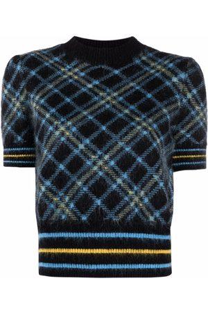 Pinko Senhora Tops de Cavas - Plaid-pattern knit top