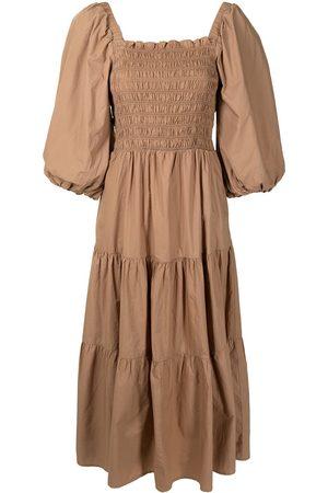 SEA Layered shirred midi dress